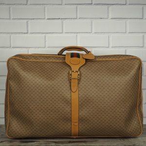 Vintage Gucci tan micro GG canvas zipper suitcase